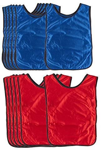 Juvale Scrimmage Westen (Set, 12 Stück) - Trainingsleibchen, Teamtrikot, Trainingsweste für Kinder, Jugendliche, Erwachsene - Ideal für Basketball, Fußball, Volleyball - Rot, Blau