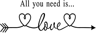 MOVANKRO All You Need is Love Arrow Heart Art Letters Quotes Vinyl Decal Home décor Stencil