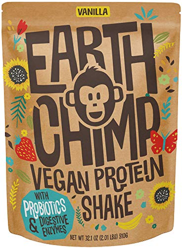Arkechimp素食蛋白粉(26份,32盎司)与超级食品,益生菌,有机水果和植物蛋白粉,乳制品免费,无麸质,口香糖,乳糖免费,非转基因,(香草)