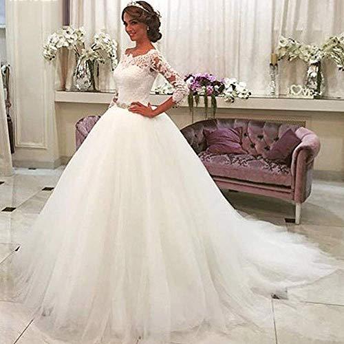 Kleid Hochzeitskleid 1 Hochzeitskleid High Round Neck Slim Paket Hip Fishtail Brautkleid Sexy Lace Braut Brautkleid 2 Hochzeit/Weiß/L, L-F, Weiß, m