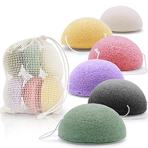 Konjac Facial Sponges set of 6 for All Skin Types soft and gentle Face body Exfoliation and Deep...