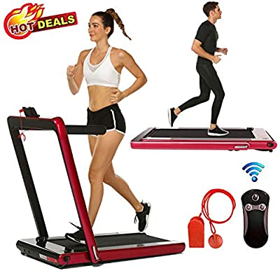 2 in 1 Under Desk Folding Treadmill,Electric Motorized Portable Pad Treadmills Walking Jogging Running Exercise Fitness Machine with Remote Controller and Bluetooth Speaker for Home Gym Office (Red)
