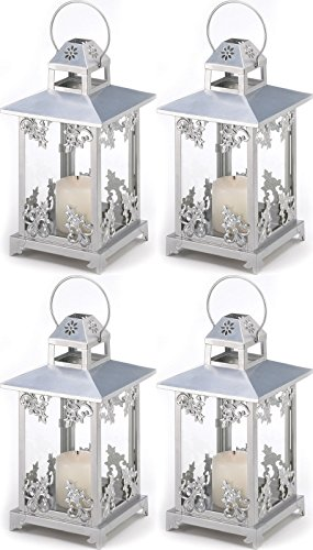 4 Silver Scrollwork Candle Holder Lantern Wedding Centerpieces Decor