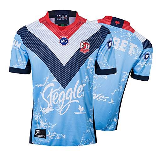 Herren Rugby Trikot, 2019 Australian Rooster Rugby Polo Shirt Training T-Shirt, Unterstützer Fußball Sport Top, Bestes Geburtstagsgeschenk-Blue-XXL