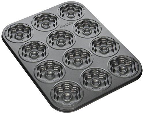 Cake Boss Novelty Nonstick Bakeware 12-Cup Flower Molded Cookie Pan, Gray
