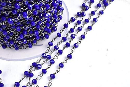 Shree_Narayani Cadena de rosario con cuentas facetadas de lapislázuli azul de 10 pies, alambre chapado en metal negro, plomizo, fabricación de joyas, hallazgo, tamaño 3-3.5 mm