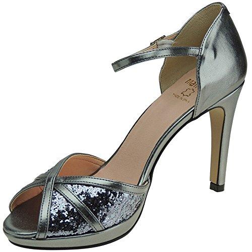 Mayfran 5582 Zapato Fiesta Negro Tacón Fino de 10CM y Plataforma para Mujer