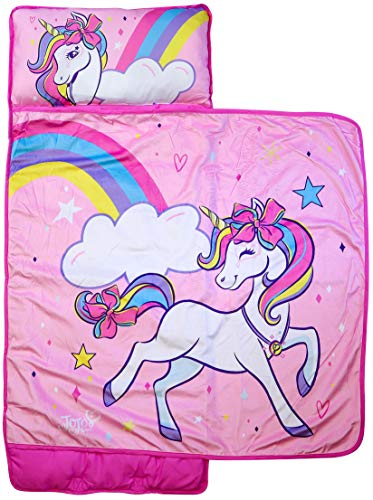 Jay Franco Nickelodeon JoJo Siwa Stars and Rainbows Nap Mat - Built-in Pillow and Blanket - Super Soft Microfiber Kids'/Toddler/Children's Bedding, Ages 3-5 (Official Nickelodeon Product)