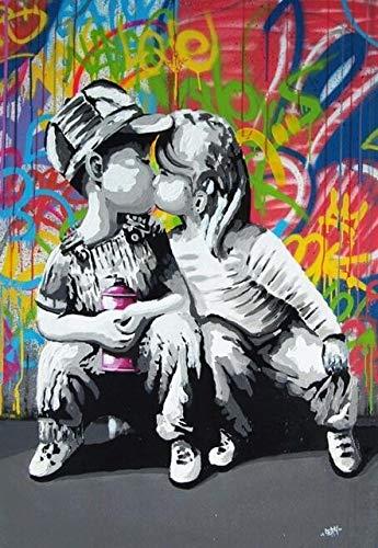 wjwei Stampa su Tela Love Is Answer Wall Graffiti Stampe su Tela Dipinti su Tela Pop Art Poster E Stampe Love Life Quadri su Tela 60X80Cm Senza Cornice Viola