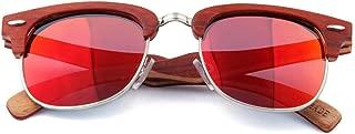 LUKEEXIN Handmade Semi-Rimless Wood Sunglasses Colored Lens UV Protection for Men Women (Color : Red)