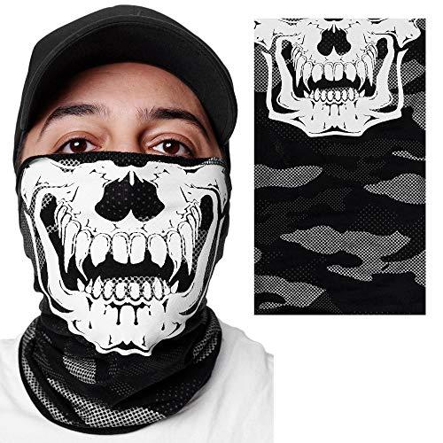 OneRedox Gesichtsschutz Halstuch Bedruckt Biker Schal Ski Motorrad Gesichtsmaske Schwarz Camo 3654