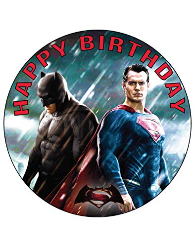 7.5 Inch Edible Cake Toppers – Batman Vs Superman Themed Birthday Party Collection of Edible Cake Decorations
