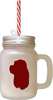 Maroon American Cocker Spaniel Silhouette Frosted Glass Mason Jar With Straw