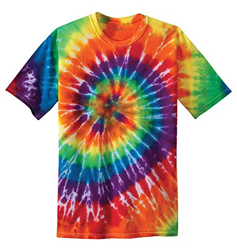 Kids Short Sleeve Tie-Dye T-Shirts,L-Rainbow