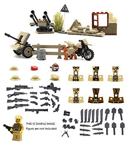 Serie de la Segunda Guerra Mundial de la fuerza británico - Mini figuras de Lego personalizadas - paquete de armas, Juego de armas, Bunker, Cajas de arma con traje de soldados