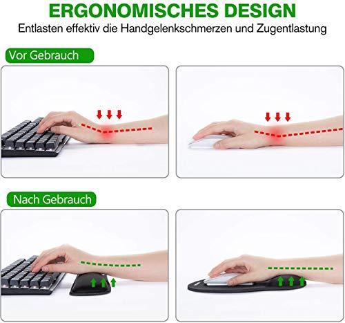 Mauspad mit Gelkissen | VicTsing Ergonomische Handgelenkauflage Set, Handgelenkstütze für Tastatur und Maus mit Memory-Schaum, rutschfeste, langlebig, komfortabel, Anti-Sehnenscheiden für Computer|Laptop, Schwarz - 3