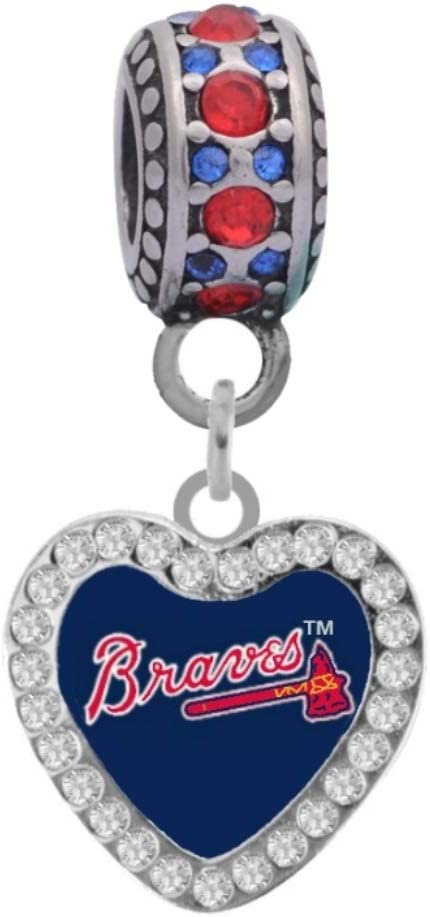 Atlanta Braves Crystal Heart Regular Luxury discount Charm Style Compatible With Pandora