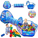 3 in 1 Kids Play Tent with Play Tunnel, Ball Pit, Basketball Hoop for Boys & Girls, Toddler Pop Up Playhouse Toy for Baby Indoor/Outdoor, Gift for Year Old Child (3 in 1 Kids Play Tent)