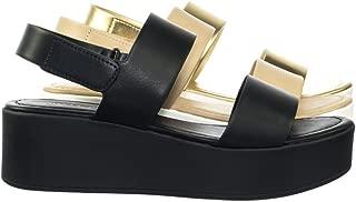 CITYCLASSIFIED Flatform Hook & Loop Sandal w Thick Platform & Sling Back Black