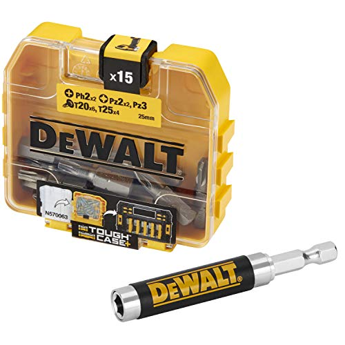 DEWALT DT71573-QZ - Estuche de accesorios Toughcase – puntas de atornillado – PH2 x2, PZ2 x2, PZ3, T20 x6, T25 x4 – Para taladro atornillador