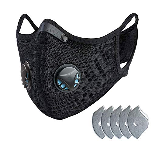 Dust mask with Filter,Sports Face Mask, 5 Filters and 2 Valves Included,Replaceable Filters and Washable Masks for Running, Cycling, Skiing Motorbikes, Outdoor Activities(Black with Logo)