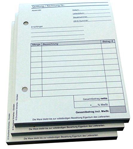 16x Block Quittung - Quittungsblock - 50 Blatt DIN A6 Hochformat - gelocht - (22284)