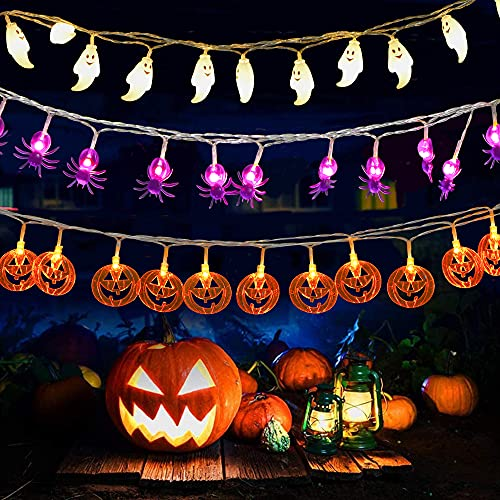 3 catene di luci per Halloween, 9,8 ft 20 LED, luci decorative per Halloween (zucche, ragni, fantasma), a batteria con 2 modalità per giardino, interni, esterni, Halloween, feste