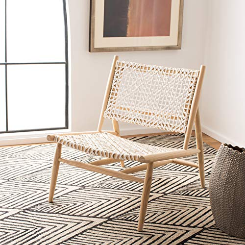 Safavieh Home Bandelier Light Natural and White Leather Woven Accent Chair