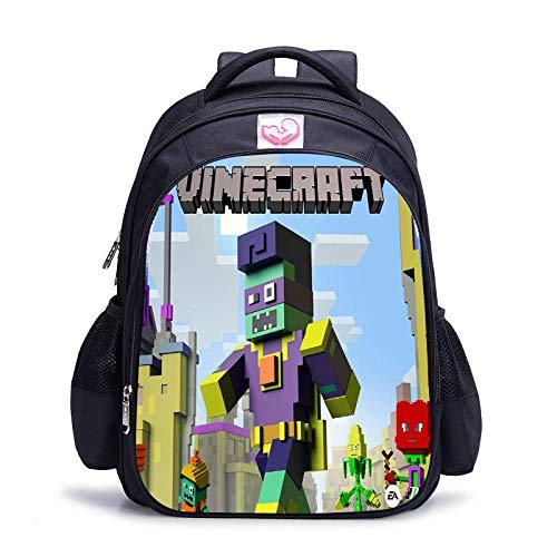Mochilas Minecrafted Mochilas Escolares Impermeables para niños Mochilas Escolares de Dibujos Animados para niños con Cremallera Regalos para niños-3