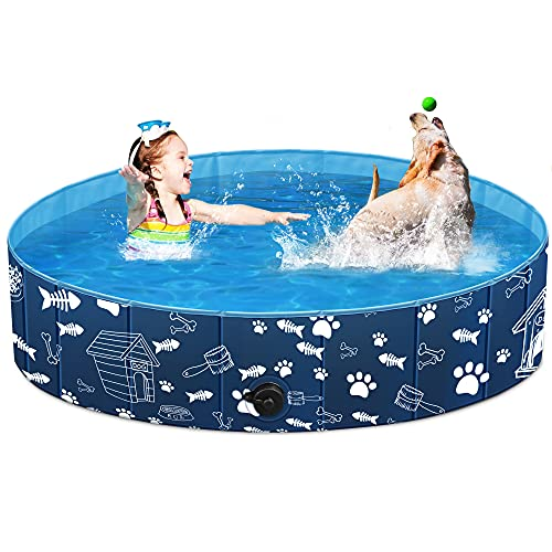 of dog bathings dec 2021 theres one clear winner Unido Foldable Dog Pet Pool for Kids Cats, Kiddie Pool Toys for Toddlers Boys Girls Gifts, Bath Swimming Pool for Large Dogs Cats in Backyard Garden