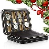 Amzdeal - Caja de almacenamiento para relojes (2 capas, 8 cuadrículas, piel s...