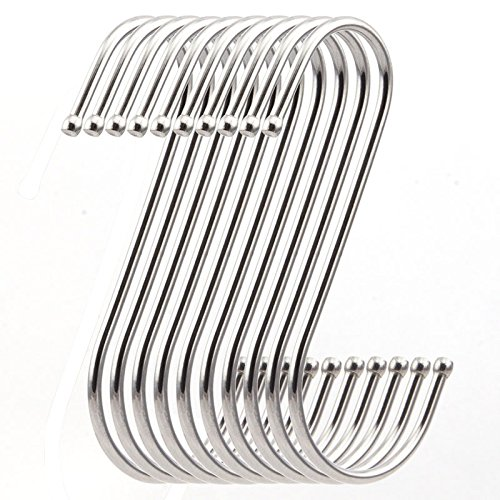 RuiLing 10 Pack Premium 4.5 inch Heavy Duty Stainless Steel S Hooks - S Shaped Hook - Hanger Hooks - Ideal for Hanging pots and Pans, Plants, Utensils, Towels etc. Set of 10