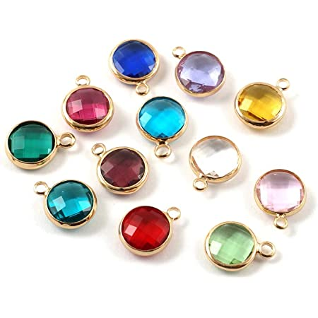 12 Colors 60 Pieces Crystal Birthstone Charms DIY Beads Pendants with Rings for Making Jewelry Necklace Bracelet Earrings 6 mm