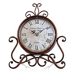 Vintage Table Clock Antique Mantel Clock Battery Operated Non-Ticking Retro Clock Small Desk Clock for Living Room/Kitchen/Bedroom/Bedside/Gift Clock(9 x 11)