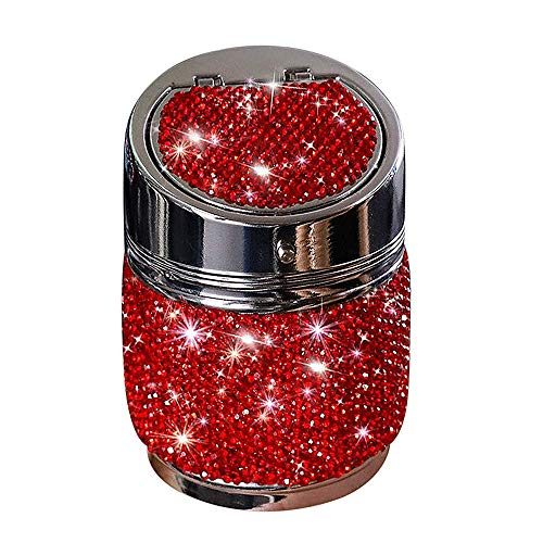 Car Ashtray Portable Bling Cigarette Smokeless Cylinder Cup Holder, Bling Crystal Car Cup Holder Ashtray with Lid Aluminum Alloy High Temperature Resistance Home Outdoor Office Ashtray(red)