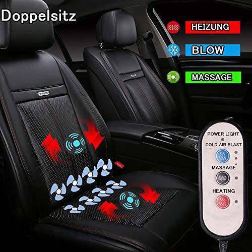 LifeUp Heizkissen für Autositz 12V elektrisches Massagekissen Cooler bequemer atmungsaktiver kühler Sitzbezug zum Sitzschutz Hals Hüfte Rücken (Doppelsitz Schwarz)
