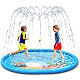 LIORQUE Splash Pad, Juegos de Agua para Niños Almohadilla de Aspersión 190 * 150 cm Juegos Agua Jardín Antideslizante Inflable de PVC para 2 a 3 Niños (Azúl)