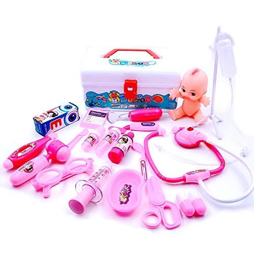 JZK Set 20 x Gioco Dottoressa Bambina Medico Kit con Valigetta per Giocare al Dottore per Bambina Bimba 3 4 5 6 Anni