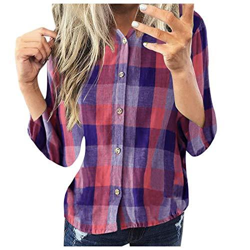 Hemd Top Frauen Mode Casual Langarm Plaid Shirt Slim Jacke (XXL,4Lila)