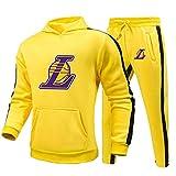 BAIDEFENG Hombres Joggers Chándal Contraste Gimnasio Traje Deportivo Lakers Hombre Manga Larga Contraste con Capucha Traje Deportivo Traje Completo Uniforme de Baloncesto-XXX-Grande