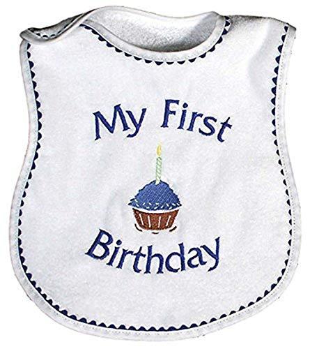 Raindrops My First Birthday Embroidered Bib, Royal Blue