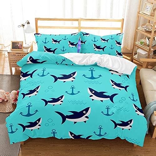 ZHOUBIN Juegos de Fundas para edredón Enjambre de Tiburones de Fondo Azul Estampado Juego de Funda nórdica y 2 Fundas de Almohada ,para niños,Adultos-UK Super King 220x260CM
