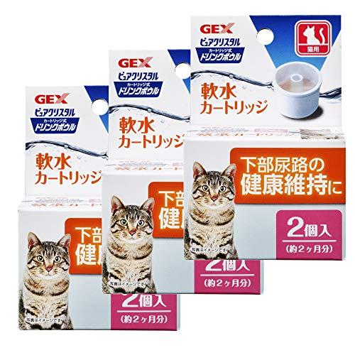 ジェックス ピュアクリスタル ドリンクボウル 軟水カートリッジ 猫用 2個入×3個 (まとめ買い)