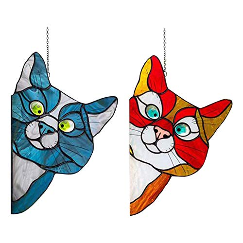 duhe189014 2 Stück Cat Buntglas Sun Catcher, hängender dekorativer Anhänger mit Saugnäpfen und Ketten, Mobile Buntglasscheibe Hängende Verzierung Sun Catcher
