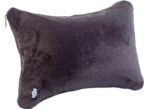 newgen medicals Kissen aufblasbar: Aufblasbares Reise-Nackenkissen mit Ultrasoft-Bezug, schwarz (Aufblasbares Strandkissen)