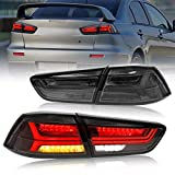 VLAND LED Tail Lights Assembly Compatible with Mitsubishi Lancer EVO X 2008-2017,Full LED Tail Light Assembly with Sequential Turn Signals and DRL Bars