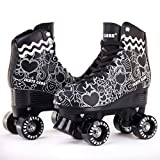 C SEVEN Skate Gear Cute Roller Skates for Kids and Adults (Classic Black, Youth 4 / Women's 5)