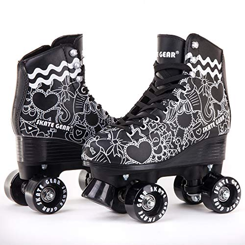 C SEVEN Skate Gear Cute Roller Skates for Kids and Adults (Classic Black, Youth...