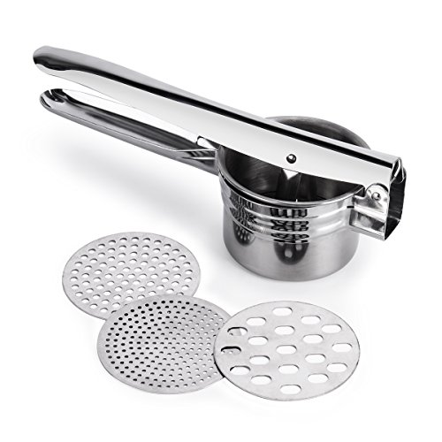 BeautyKitchen Stainless Steel Potato Ricer with 3 Interchangeable Disks
