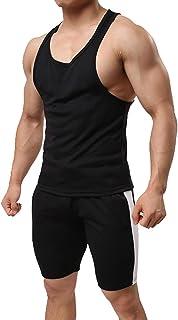 Alvivi Men's Stretch Racer Back Singlet Vest Top with Drawstrig Shorts Sports Boxing Compression Tracksuit